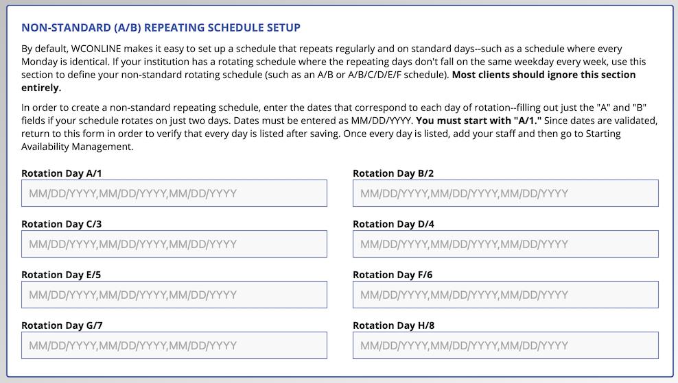 Non-Standard A/B Schedule Configuration