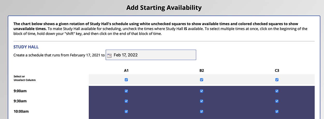 A/B Scheduling Example Interface
