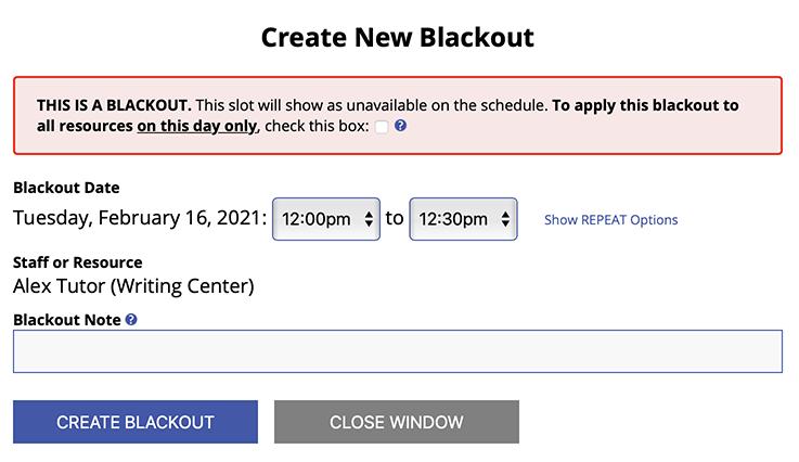 Add a New Blackout Window