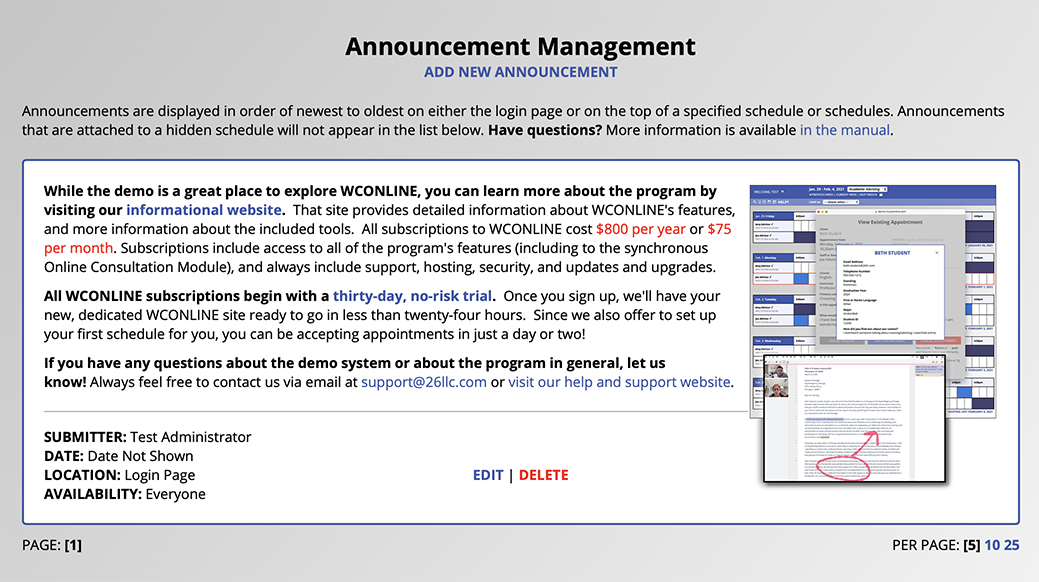 Announcement Management Sample List of Announcements