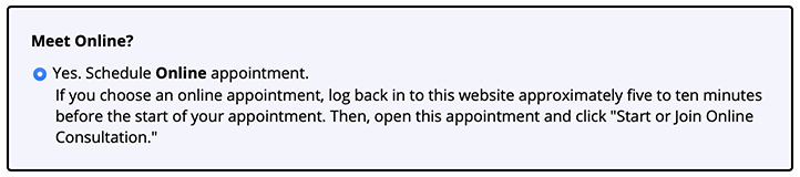 Meet Online Only Appointment Form Question