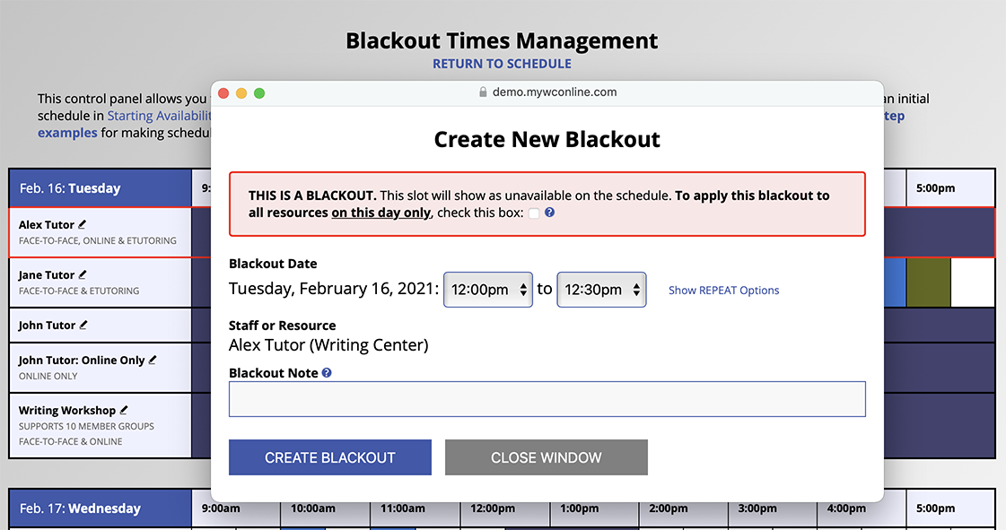 Blackout Times Management and Appointment Form