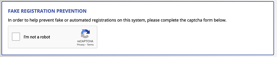 reCAPTCHA display on the registration form