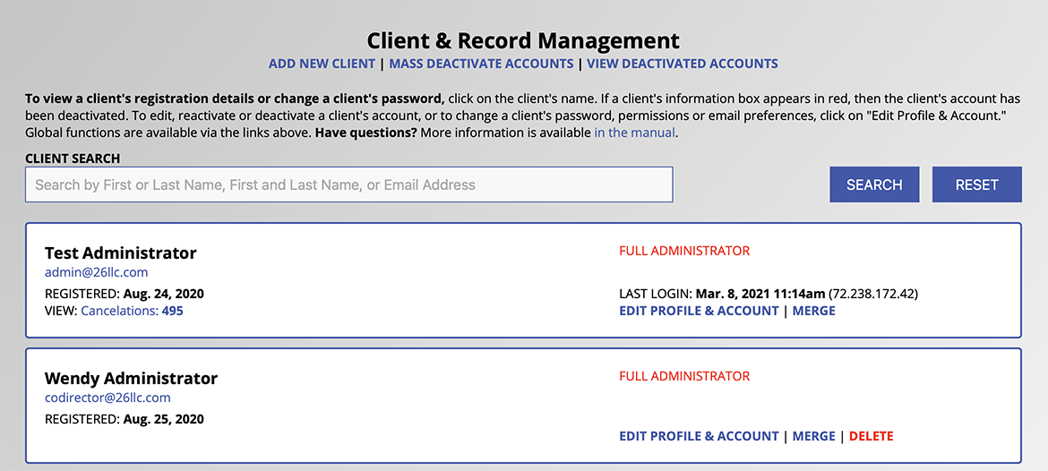 Client and Record Management Overview Sample