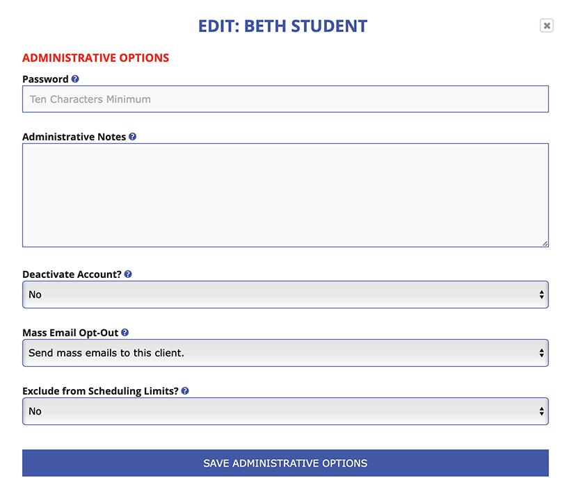 Administrative Options Display
