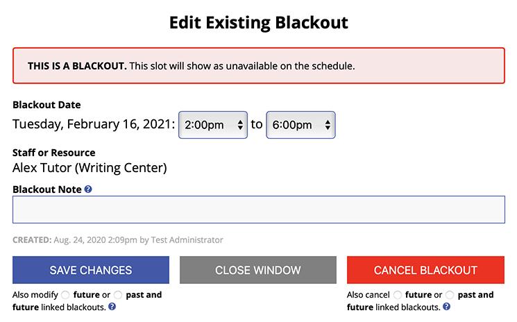 Sample Edit Existing Blackout Screen