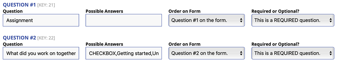 Form Setup Image from Welcome Menu
