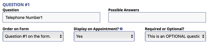Question 1 Entry Area: Form Setup