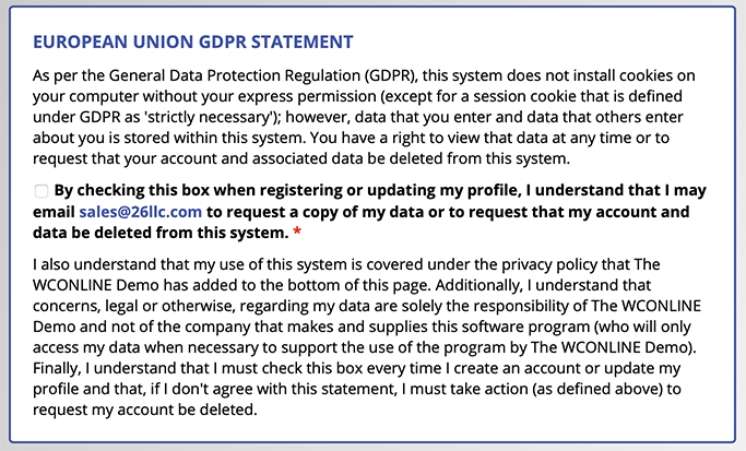 GDPR Information as it appears on the registration form.