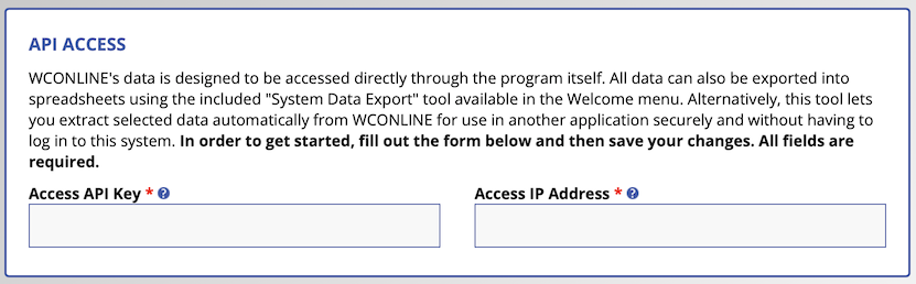 API Access brief instructions with key and IP address fields