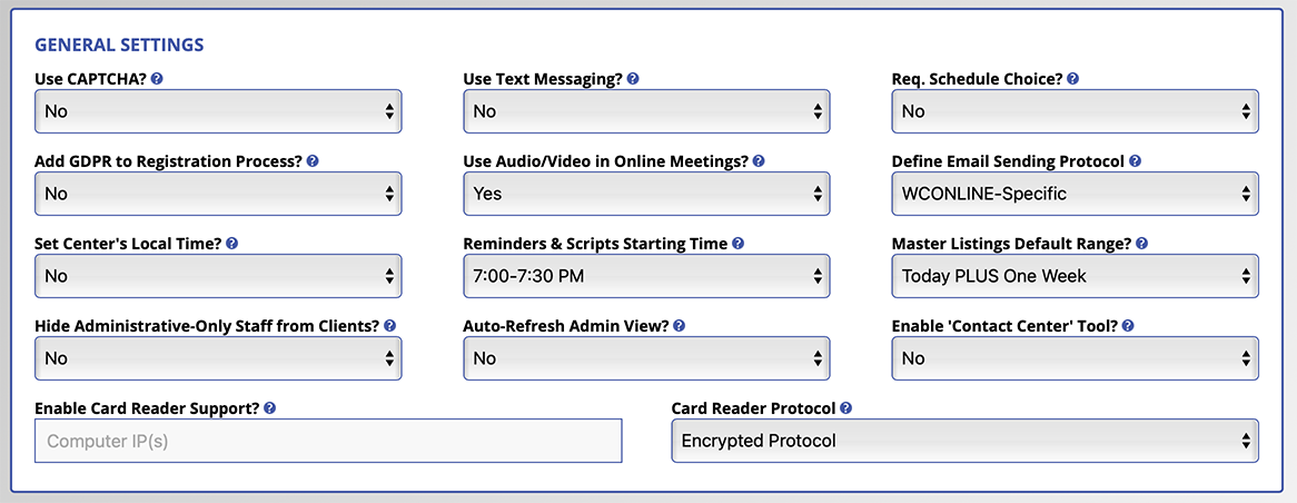 General Settings Options as Displayed on Screen