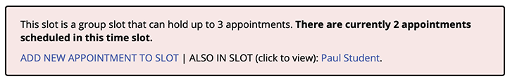 Group Appointment Sample Information