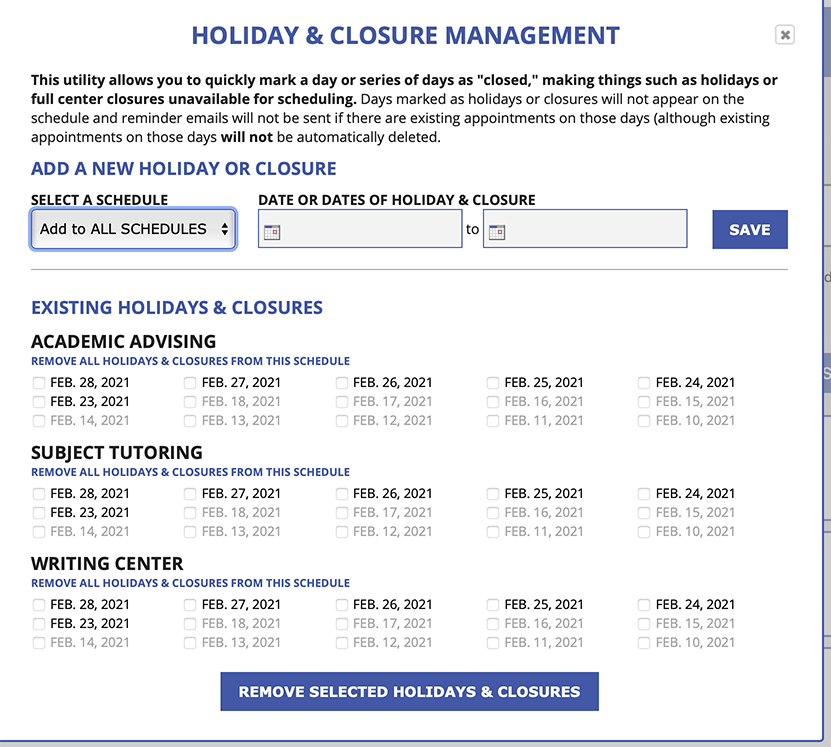 Holiday and Closure Management