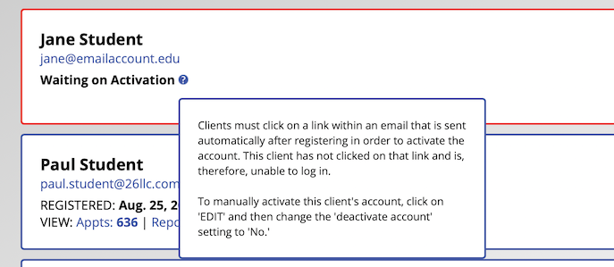 Client and Records Management Instructions for Account Activation
