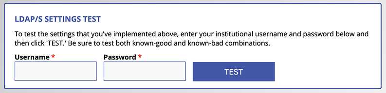 LDAP/S Test Interface