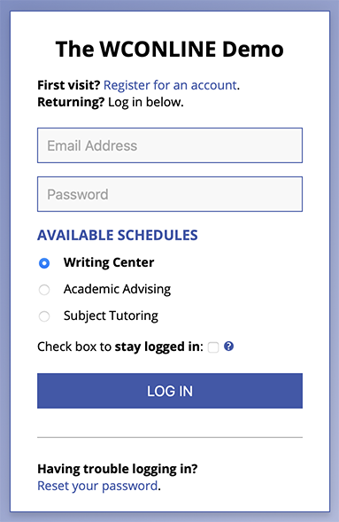 WCONLINE Sample Login Form
