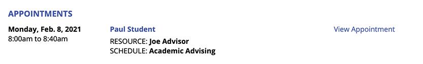 Master Listings Report Appt. Display