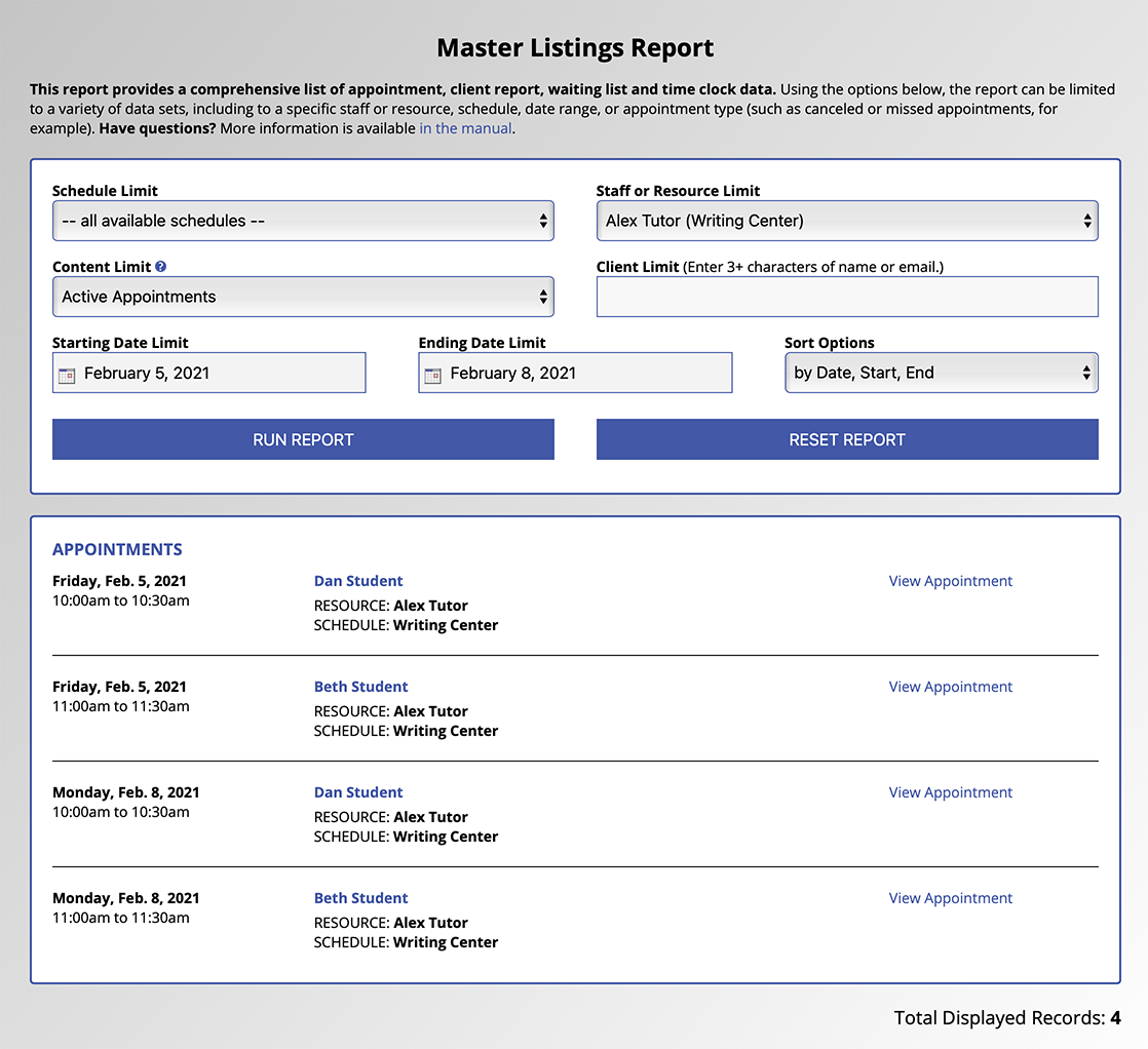 The Master Listings Report Default View