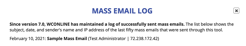 Sample Mass Email Log