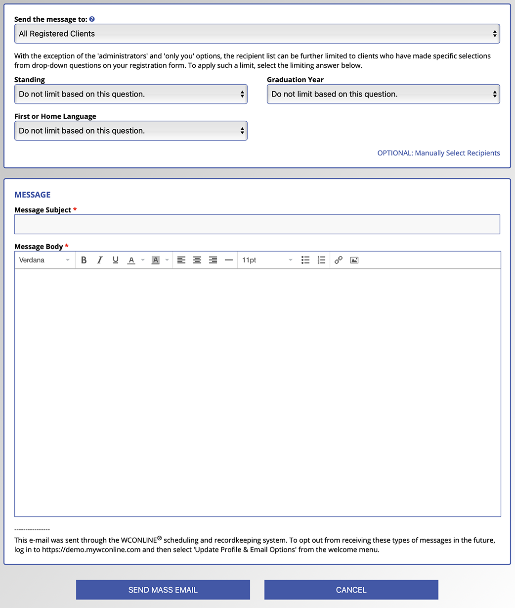 The Mass Email Tool Configuration and Sending Options