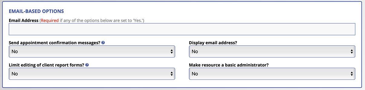 Email Based Options Screenshot