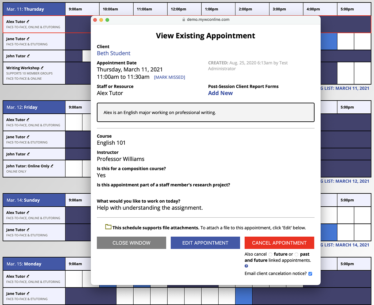 Schedule View with Appointment Form Popup