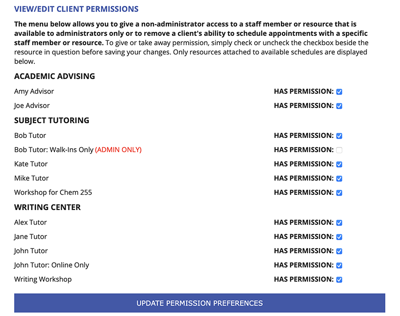 Client Permissions Sample Display