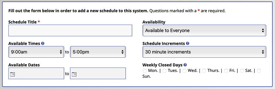 Schedule Management Introductory Settings