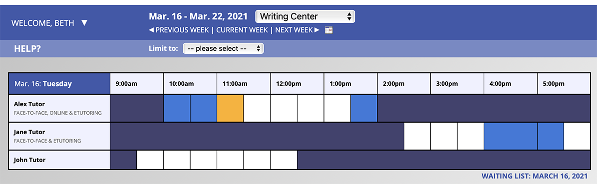A sample display of the schedule to non-administrators