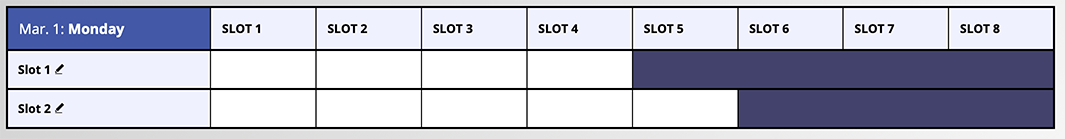 Example of a Slot Based Schedule