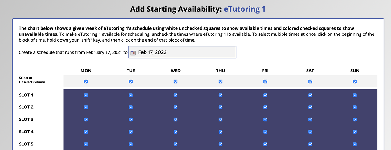 Slot Scheduling in Starting Availability Management