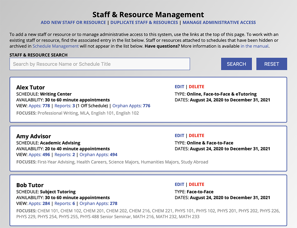Staff and Resource Management Overview