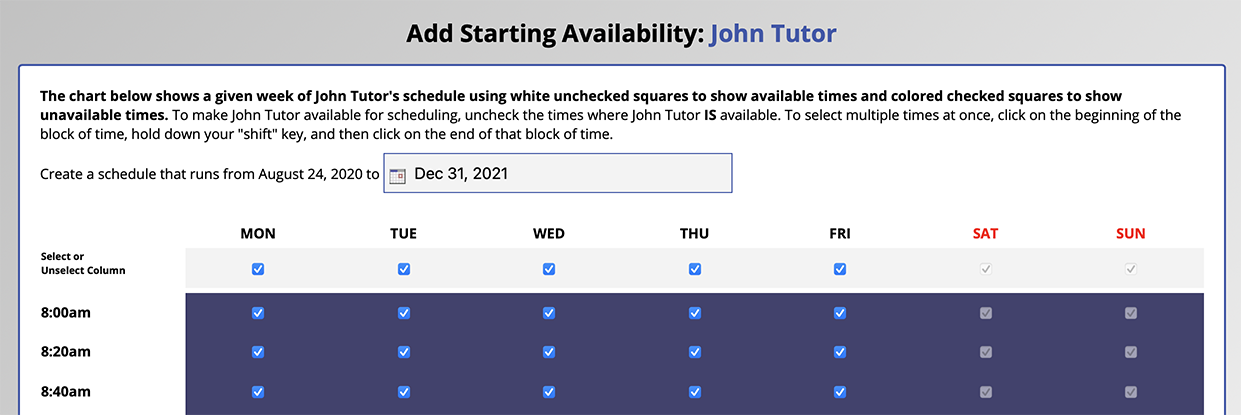 Starting Availability Management Sample Chart