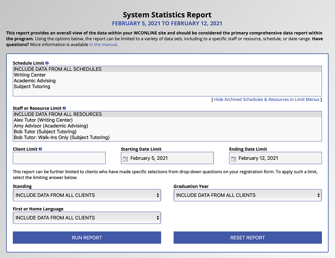 System Statistics Configuration Options