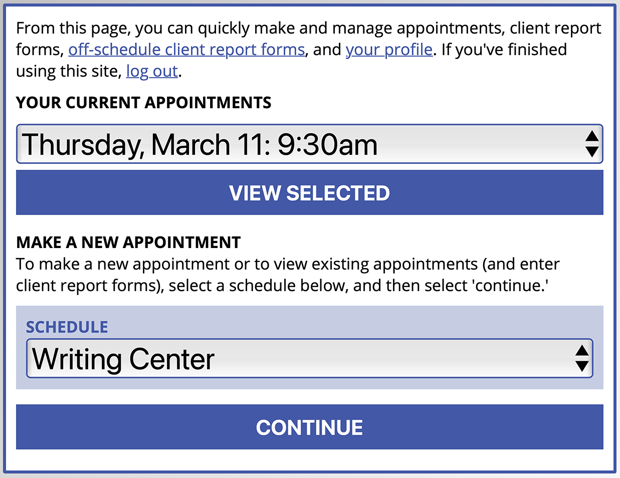 Text Interface for Making an Appointment