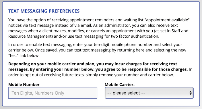 Text Messaging Options on Registration