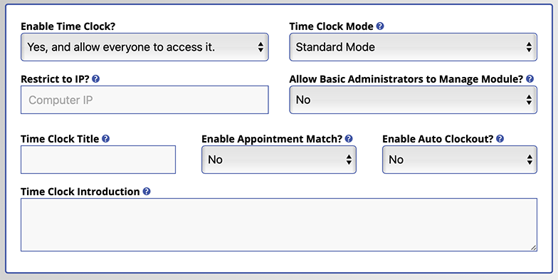 Time Clock Configuration Options Screenshot
