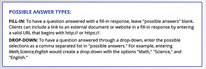 Possible Answer Types for Time Clock Questions