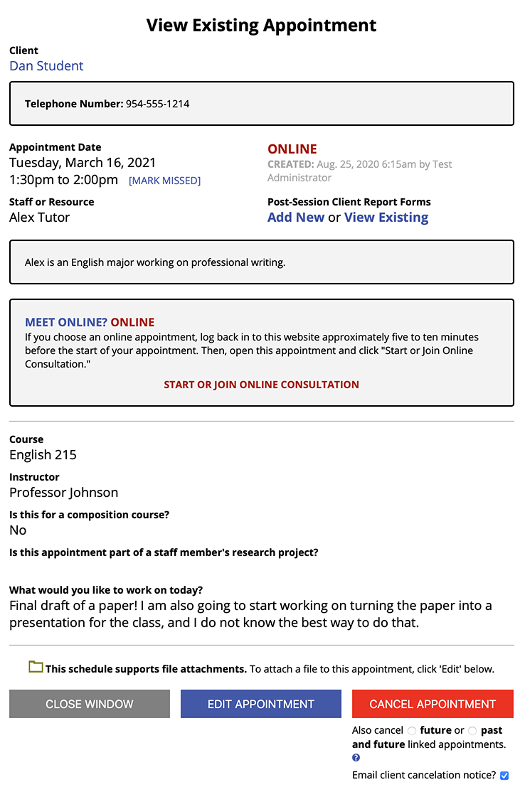 View Existing Appointment Sample
