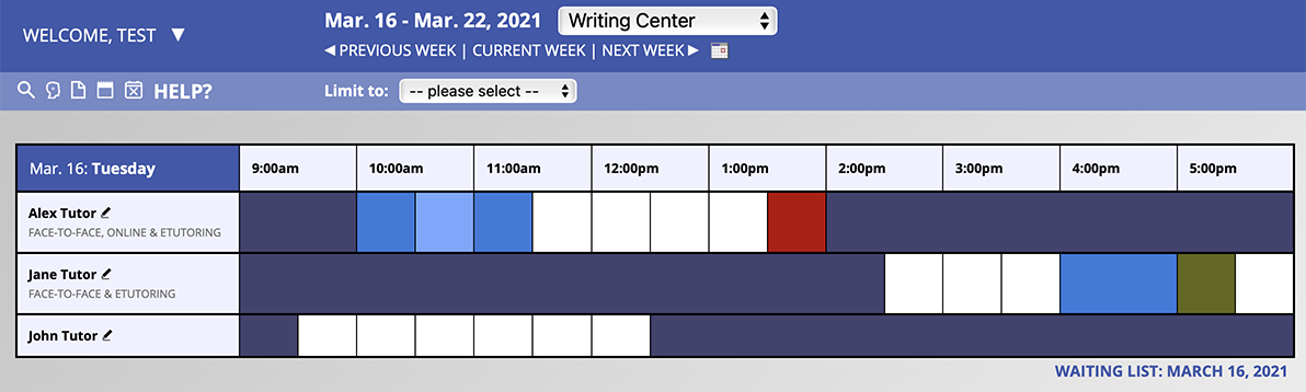 A sample display of the schedule from an administrator's account.