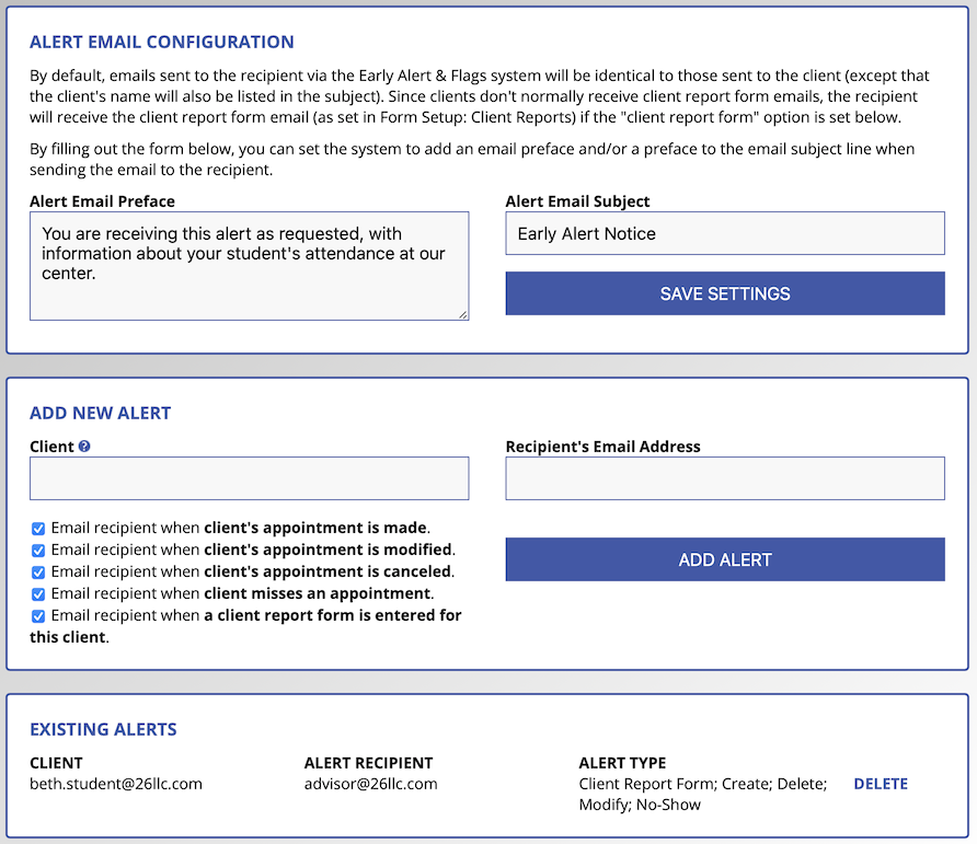 Image of the Early Alerts Configuration Options
