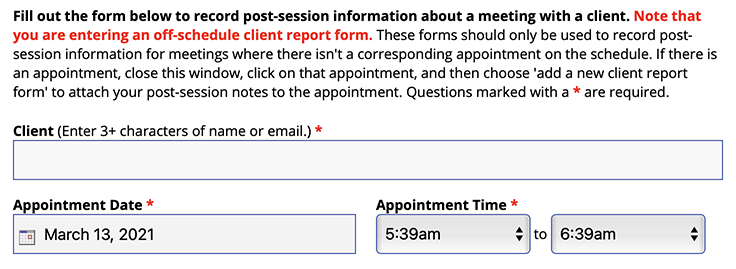 Image of the top portion of an off-schedule client report form